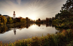 The White Tower (Philipp Klinger Photography) Tags: park morning autumn trees light shadow sky sun white color colour reflection tree green tower fall water grass animals clouds swimming swim sunrise germany landscape deutschland duck nikon colorful wasser europe hessen bright bad vivid ducks palace foliage schloss turm philipp sigma1224mm taunus dri schlosspark hesse weiser badhomburg klinger weisser homburg schlos d700