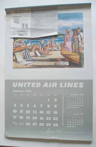 united airlines 1951 calendar