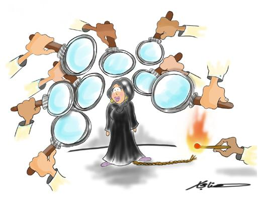 a Muslim woman, cloaked in a black hijab and abaya, is surrounded by a throng of hands wielding oversized magnifying glasses, all pointed at her. A fuse trails out behind the woman, as another hand reaches out to light it with a match.