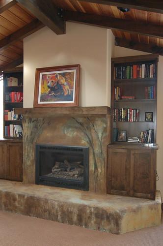alder fireplace cabinets