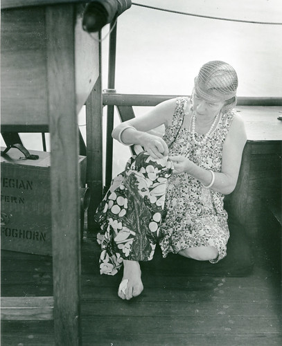 Anne Archbold sewing aboard the Cheng Ho