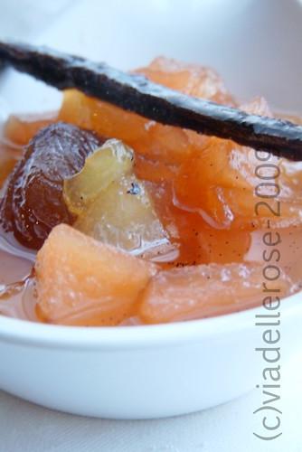 Confit di pere alla vaniglia e marrons glacés
