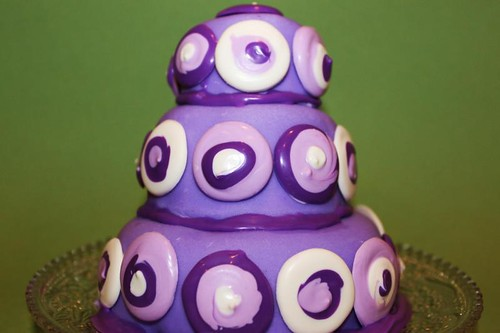 retro purple cake green