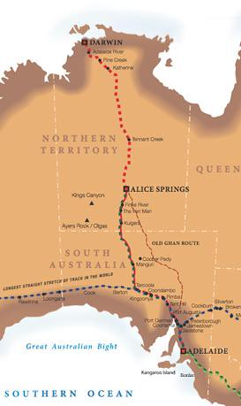 The Ghan - map of the route