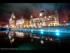 3 Graces Reflected at Night - Liverpool 2010 (Lee Carus) Tags: 3 reflection water liverpool pier canal long exposure head sony explore alpha hdr graces 2010 a900 explored