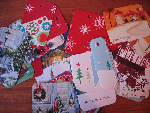 Recycling cards as next year's gift tags