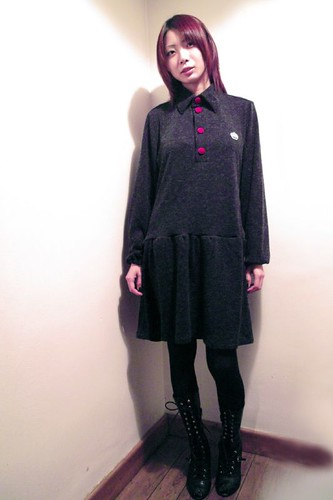 Naoko - QOS Grey Wool Polo Dress