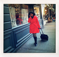"""The Red Traveler"" (Sion Fullana) Tags: urban newyork square feminine streetphotography cellphone squareformat allrightsreserved redcoat onthephone newyorkers newyorklife iphone femininity 500x500 urbanfashion urbanshots greenwichavenue fakepolaroids urbannewyork girlonthephone girlinaredcoat iphonephotography iphoneshots iphoneography iphoneographer sionfullana shakeitapp girlinhighboots carryonsuitcase theredtraveler issheleavingorisshecomingback throughthelensofaniphone"