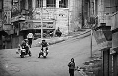 Coffee Break! (SonOfJordan) Tags: street people bw canon eos downtown break hill amman police jordan motorcycle intersection xsi 450d elbalad samawi sonofjordan wwwshadisamawicom