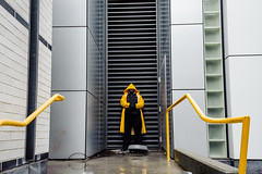 (Jack Simon) Tags: sanfrancisco rain yellow gloves separatedatbirth railing yerbabuena raincoat beforetheipadannouncement