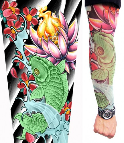 Koi Fish and Water Lily Sleeve Tattoo Full color. Tags: Flower Sleeve Tattoo