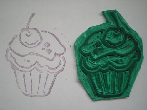 Handcarved stamp cupcake