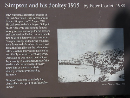 Simpson and his donkey brought water to the soldiers at Gallipoli