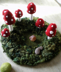 toadstool hollow (lilfishstudios) Tags: red white wool nature mushrooms moss handmade craft felt fiber toadstools needlefelted lilfishstudios