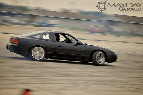 A relatively clean looking 240sx drifting through practice sessions.