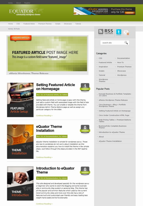 eQuator   Global Community Wordpress Theme