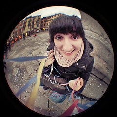 Wide Streamers Attack (pierofix) Tags: city carnival portrait italy girl smile face yellow stairs digital scarf canon circle bag square lens fun eos eyes hands funny italia colours afternoon outdoor centre digitale centro wide perspective wideangle mani super confetti fisheye occhi jeans giallo sorriso piazza streamers carnevale colori borsa grandangolo ritratto 45mm irma viso circular sciarpa divertente cerchio 2010 ragazza citt friuli palla prospettiva esterno coriandoli stellefilanti udine gradini pomeriggio tonda sangiacomo reducer frangia focale 025x 400d fuoricampo riduttore richarm