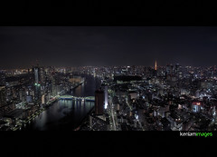 Looking down the river.. (Ken.Lam) Tags: pink building tower st japan night reflections river tokyo twilight cityscape view illuminations bridges tsukiji   lukes sumida  kachidoki offices urbanscape shiodome dentsu          kenlam