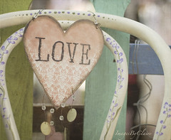 """Love is the enchanted dawn of every heart."" (ImagesByClaire) Tags: love metal vintage pretty dof heart bokeh antique painted depthoffield valentines fleamarket decorated oldchair nikkor50mmf14 florabellatexture"