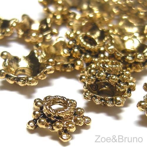 Antique Gold (Toned) (Nickel Free) Medium Star Bead Cap