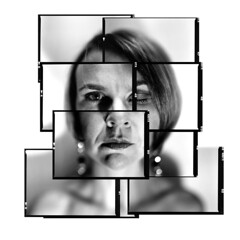 Face recognition (thescatteredimage) Tags: portrait macro mamiya film girl collage 645 kodak bokeh sandy australia melbourne victoria montage photomontage pushed 6x45 hockney joiner mamiya645 iso1600 2010 scattered construct xtol 80mm trix400 hockneyish extensiontubes hockneyesque 80mmf28 edgemarkings
