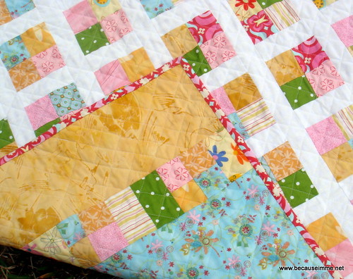 girls four square quilt with back