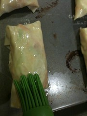 Brushing Eggrolls with Oil