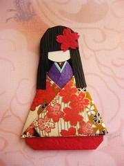 Japanese Chiyogami Paper Doll - Ai (umeorigami) Tags: japan japanese origami doll handmade craft geisha yukata kimono folded paperdoll papercraft washi chiyogami origamidoll warabeningyo