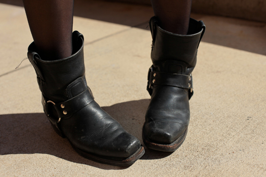 motorcycle boots women fashion. A look at her motorcycle ankle