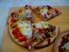 Breakfast pita pizza sliced