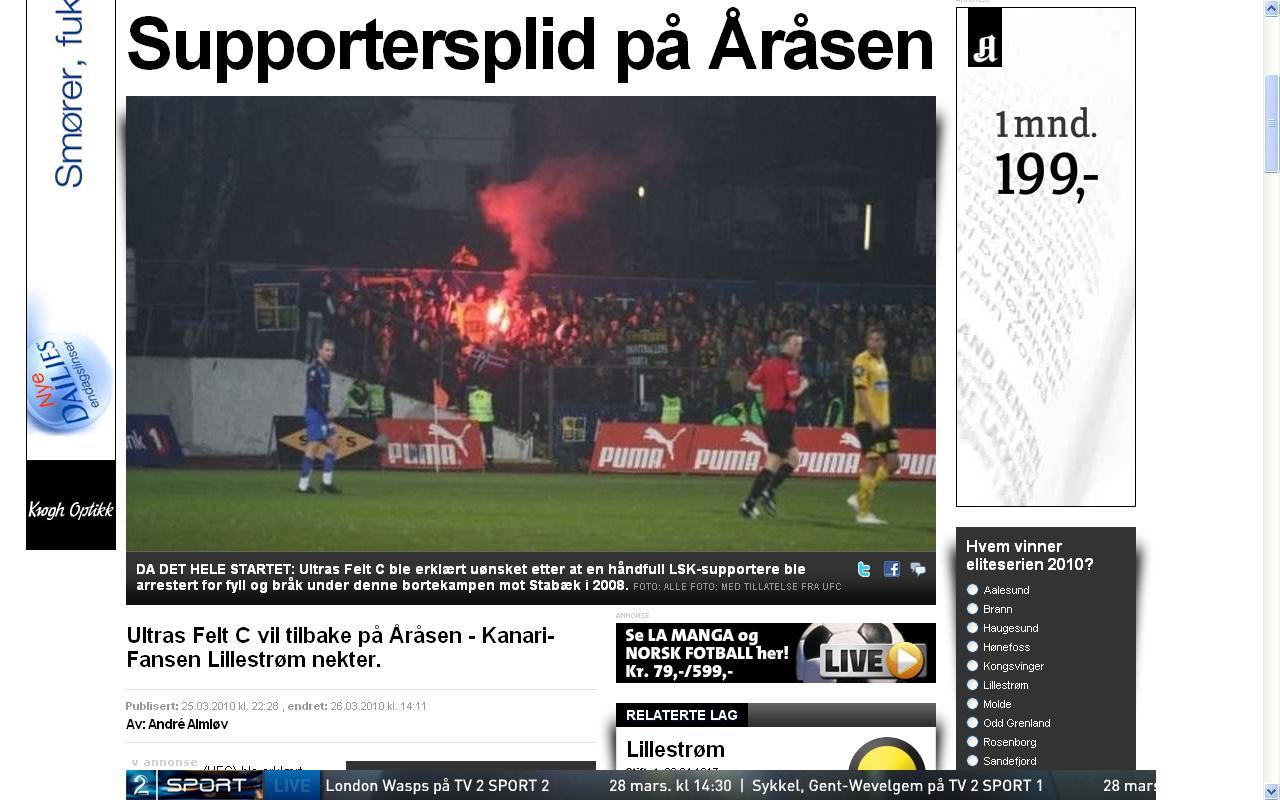 supportersplid hos Lillestrøm