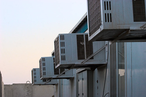 Air conditioners in a line