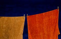 Colours for Spring... (Gremxul) Tags: blue sea orange colour detail texture yellow composition contrast island nikon line towels nikkor gozo d80 nikond80 gremxul