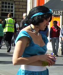 costumed girl on Mile close up (byronv2) Tags: woman sexy girl beautiful festival scotland breasts edinburgh tits boobs candid fringe voyeur cleavage snowwhite edinburghfestival revealing 2009 downblouse