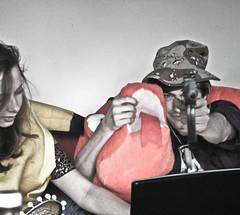 Under fire (Snidibap) Tags: party portrait money holland eye netherlands beer beautiful animal night weird eyes gun technology god sweet military lowlands spoon science mexican freak psycho killer drugs excellent weirdo groningen hotchick ak47 beautifulgirl distinct boyzinthehood chatroulette snidibap
