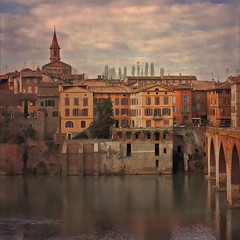 Rita Crane Photography: France / Tarn River / historic town / buildings / texture / river / reflections / Albi by the Tarn River, France (Rita Crane Photography) Tags: bridge france reflection brick texture architecture vintage river stock riverbank tarn albi toulouselautrec stockphotography midipyrenees lepontvieux tarnriver holidaysvacanzeurlaub borealnz ritacranephotography wwwritacranestudiocom lesbrumes magicunicornverybest searchthebestnew historicalbi