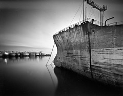 SS Esso Gettysburg (LF) (TunnelBug) Tags: blackandwhite abandoned film 4x5 largeformat exxon mothballfleet suisunbay ghostfleet tachihara navalreserve abandonedships marad fixedshadows ssessogettysburg