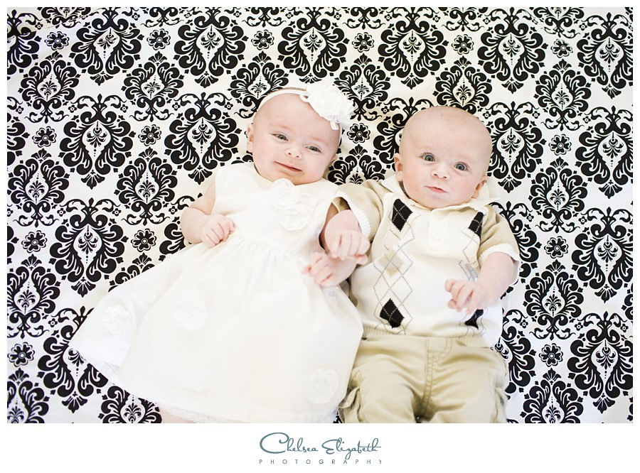 newborn twin portraits damask backdrop