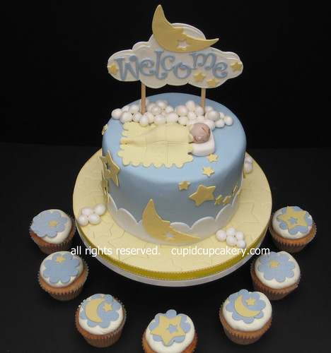 Stars Moon Baby Shower Cake