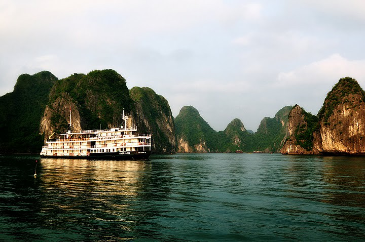 Jade green water of Halong Bay.