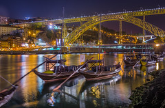 Postcard from Porto (aurlien.leroch) Tags: luísibridge douroriver porto portugal night nikon citysacpe longexposure gold birdge