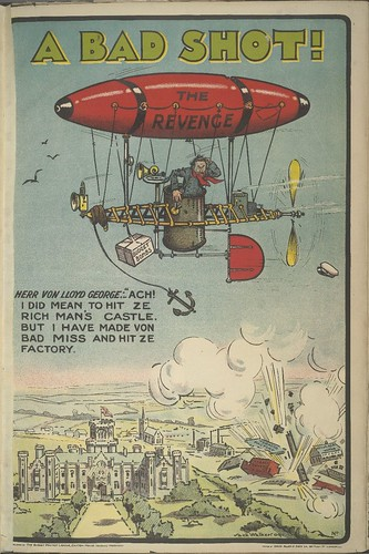 A Bad Shot! [Lloyd George dropping Budget Bombs from an airship]  (The Budget Protest League) 1909-1910