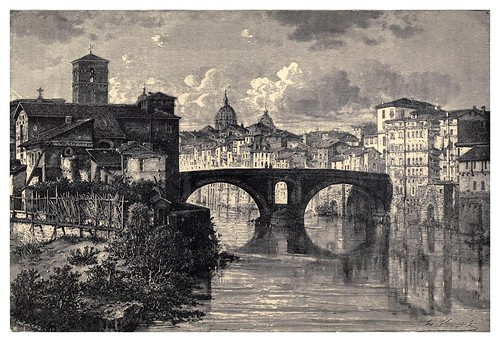 011-Isla y puente en el Tiber Roma-Italian pictures drawn with pen and pencil 1878