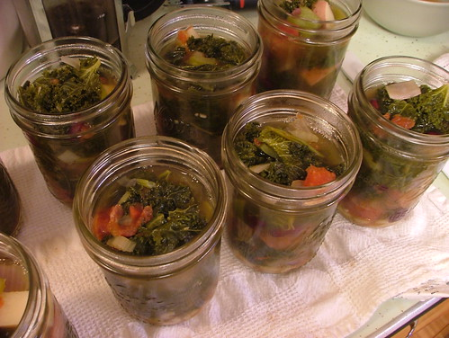 Kale soup in jars