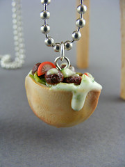 Falafel Necklace (Shay Aaron) Tags: food israel miniature salad yummy junk mediterranean peace handmade sesame jerusalem aaron fake fast mini jewelry arabic east delicious polymerclay fimo arab tiny vegetarian faux shay middle shalom  hummus  geekery jewel petit tahini                shayaaron wearablefood
