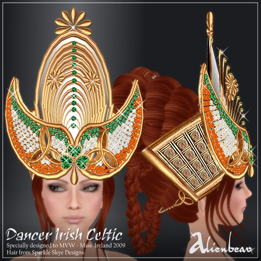 Dancer Irish gold headpieces (Miss Ireland)