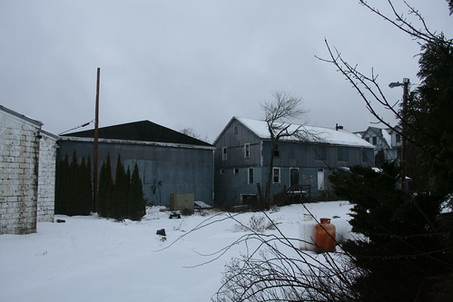 The shop and storage buildings