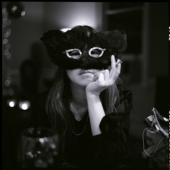 (Ansel Olson) Tags: new eve party 120 6x6 mamiya tlr film mediumformat mask delta masquerade years wendy potrait 3200 neighbor ilford c330 c330s autaut mamiyasekor80mmf28