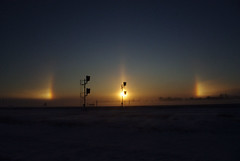 Sundogs and Sun Pillar Sunrise (~Pixelsmithy) Tags: sunrise nebraska sundog sunpillar sundogs groundblizzard k200d
