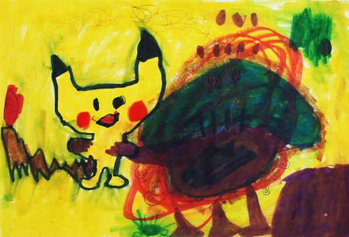 Pikachu battling